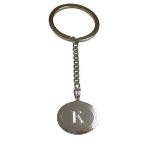 Etched Oval Letter K Monogram Pendant Keychain